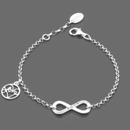 srebrna bransoletka z symbolem nieskończoności