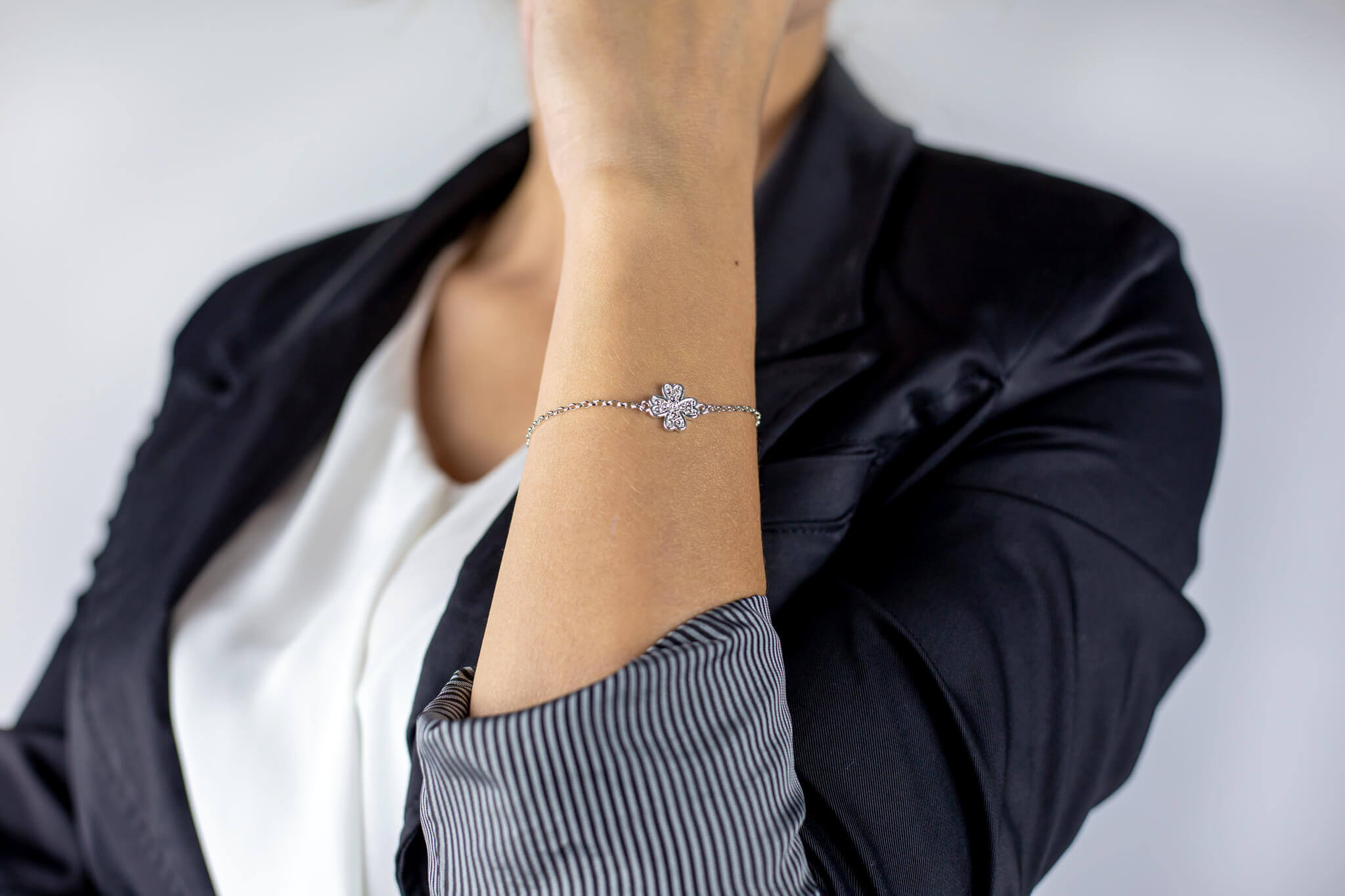 bransoletka srebrna z koniczynką